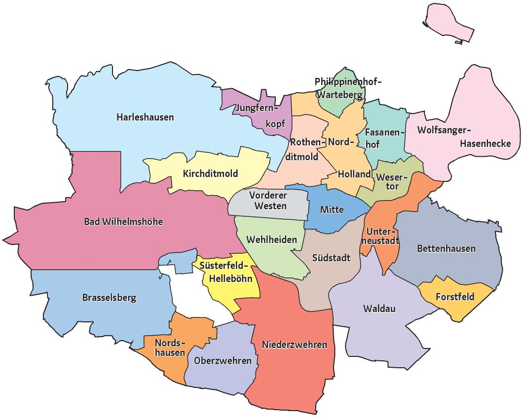 Karte Kassel Und Umgebung.Stadtteile Kassel