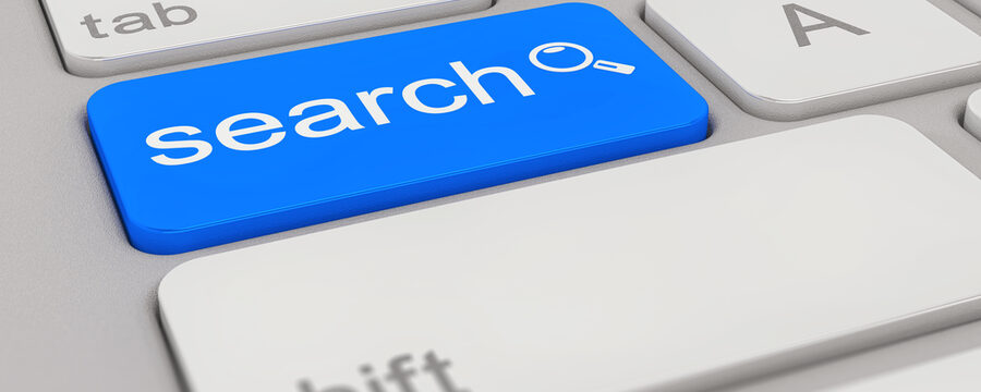 3d rendering of a white keyboard with blue search button, business concept.