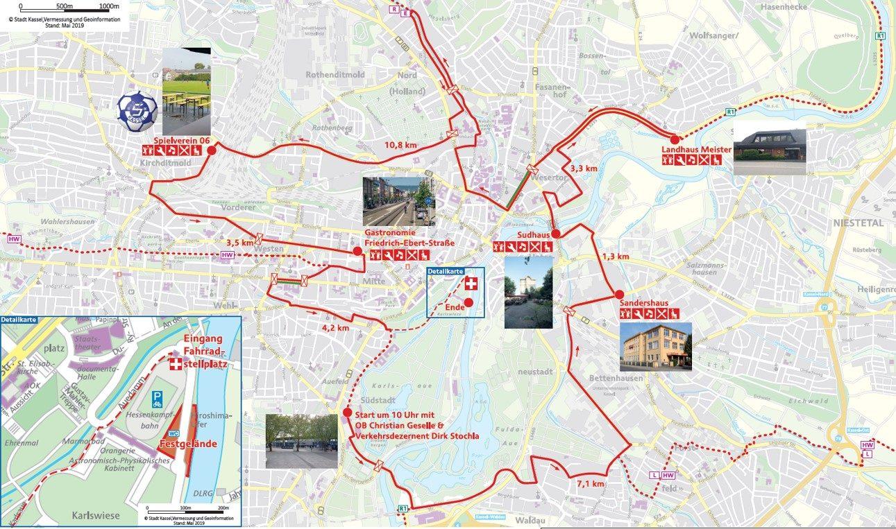 Streckenverlauf Kassel radelt